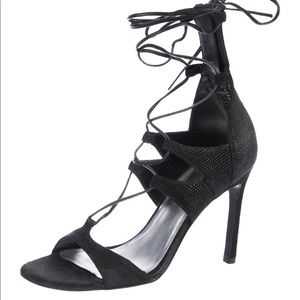 Stuart Weiztman Suede Wrap-Around Sandals